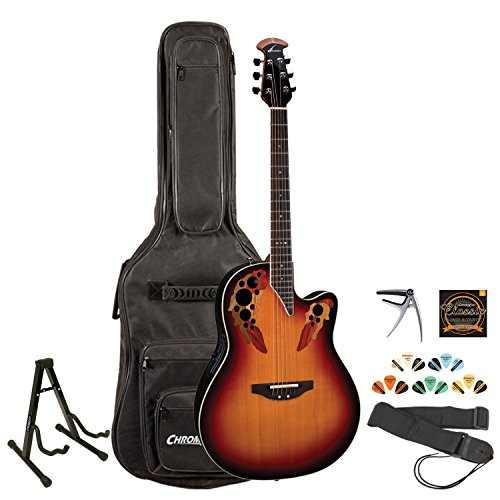 Ovation 2778AX-NEB Acoustic/Electric Guitar w/ Stand, ストラップ, Strings, ピック Sampler & Gig Bag (海外取寄せ品):シアター