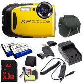 Fujifilm FinePix XP80 16.4 MP CMOS WiFi 防水 デジタル Camera (Yellow) + EN-EL10 リプレイスメント Lithium イオン バッテリー + External Rapid Charger + 32GB SDHC クラス 10 Memory Card + Carrying ケース + SDHC Card USB リーダー + 「汎用品」(海外取寄せ品)