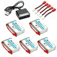HOBBYTIGER 3.7V 800mAh Lipo バッテリー 25C ( 5PCS ) + 5 in 1 Batteries Charger for SYMA X5HW X5HC RC Quadcopter 「汎用品」(海外取寄せ品)