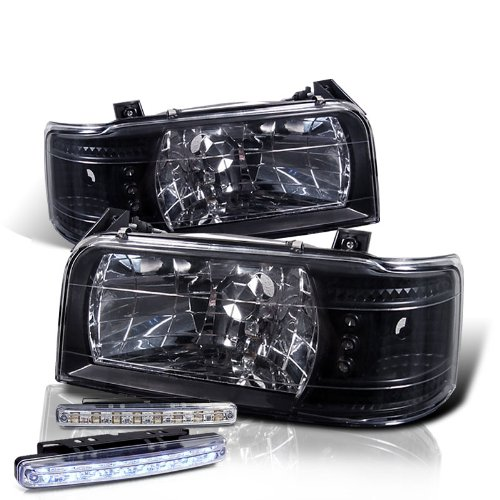 1992-1996 FORD BRONCO クリスタル HEADLIGHTS CORNER SIGNAL + 8 LED FOG BUMPER ランプ (海外取...