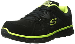 Skechers for Work メンズ Synergy Ekron シューズ, ブラック/Lime, 10 W US (海外取寄せ品)