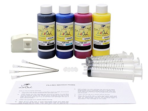InkOwl - Refill キット for use with EPSON ColorWorks C3500 ラベル printers - 4x120ml プレミアム Pigmented USA ink plus the チップ resetter (海外取寄せ品):シアター
