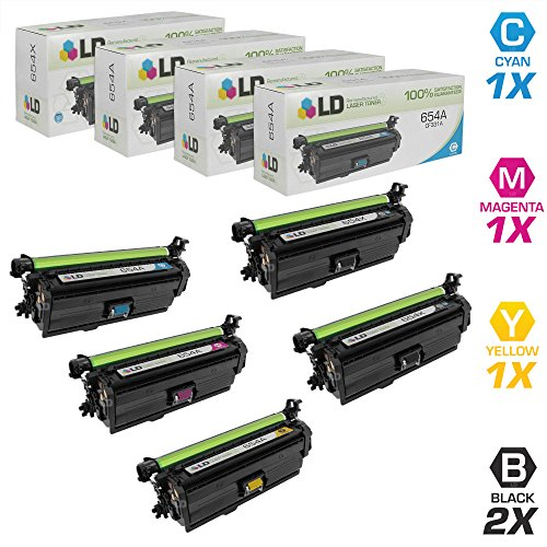 LD c Remanufactured リプレイスメント for Hewlett Packard 654X / 654A セット of 5 Laser Toner Cartridges インクルーズ: 2 CF330X HY ブラック, 1 CF331A シアン, 1 CF332A イエロー, & 1 CF333A Magenta (海外取寄せ品):シアター