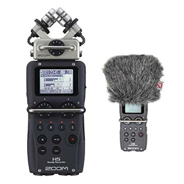 Zoom H5 Recorder with インターチェンジ Mic System With Rycote ミニ Windjammer for H5 「汎用品」(海外取寄せ品)