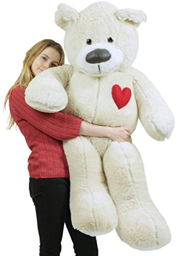 5 Foot Super ソフト ホワイト Teddy クマ With ハート on チェスト to エクスプレス ラブ, Weighs 15 Pounds, メイド in USA (海外取寄せ品)画像