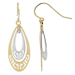 10k Two-トーン ゴールド Teardrop With カット-Outs Dangle Earrings (海外取寄せ品)
