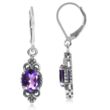 2.14ct. African アメジスト 925 スターリング シルバー Balinese Leverback Earrings (海外取寄せ品)