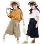 韓国子供服セットアップ女の子大人っぽい夏カジュアル綿麻キッズ半袖tシャツガウチョパンツ子ども服ジュニアキッズ服学生ファッション110120130140150160170