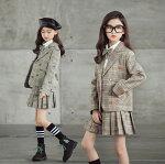 韓国子供服スーツ女の子卒業式入学式小学生フォーマルアウタージャケット+スカート2点セット子供服スーツ子供服フォーマルチェック柄セットアップキッズ長袖女の子秋子ども服上下セット女の子ジュニアスカートスーツ120/130/140/150/160