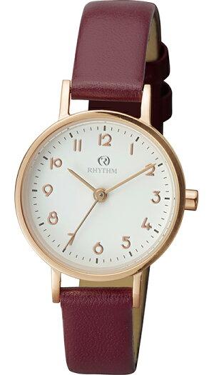 チェンノスタンダード9ZR010RH01レディース腕時計クオーツ革ベルトホワイト防水リズム時計