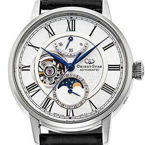 《11月19日発売/予約》オリエントスターメカニカルムーンフェイズRK-AY0101Sメンズ腕時計機械式自動巻きレザーバンドオープンハートホワイトブラック