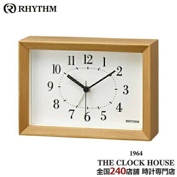 リズム プラス Aシリーズ クオーツ 掛置兼用 目覚まし時計 A6サイズ ライトブラウン 木枠 8RE676SR06 インテリア