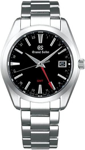 グランドセイコー9FクオーツGMTメンズ腕時計SBGN013ブラックメタルベルトカレンダースクリューバック9F86