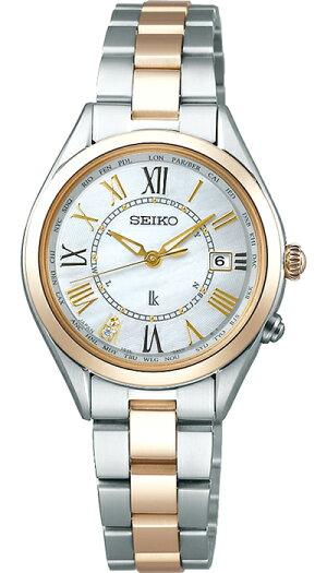 セイコールキアレディゴールドSSQV066レディース腕時計ソーラー電波チタン白蝶貝ダイヤ入り