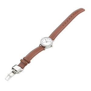 ザ・クロックハウスナチュラルカジュアルLNC1001-WH2Bレディース腕時計ソーラー革ベルトブラウンホワイト