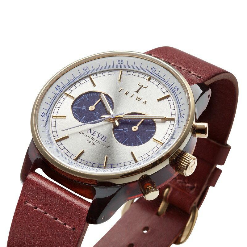 トリワ ネビル TRIWA クオーツ 腕時計 メンズ ブルーフェイスネビル BLUEFACE NEVIL クロノグラフ レザー メンズ腕時計 トリワ腕時計 代表モデル NEAC109-CL010313 【正規品】【メーカー正規保証】