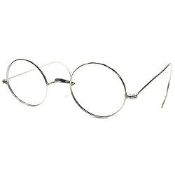 快適SIZE設計ドSIMPLE実用的オールドピース30s-40sフランス製デッドストックSILVERメタル一山式真円フレンチラウンド丸眼鏡丸メガネ