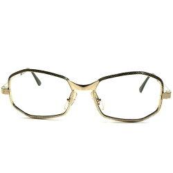 高精度クオリティ&高品質マテリアル1960s-70sフランス製FRAMEFRANCE凹凸グレイン立体リム7角形HEPTAGON1/2014K金張ビンテージ眼鏡