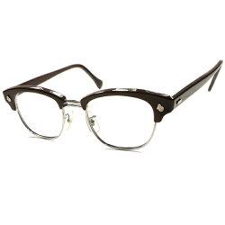 GOLDENAGE名品デッドストック1950s-1960sアメリカンオプティカルAMERICANOPTICALAO超極上個体AOヒンジCHOCOLATEBROWN×SILVERブローメガネ眼鏡48/22ヴィンテージA5294