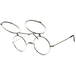絶妙オールド感x極上シルエット1960s-70sイタリア製デッドストックSILVERxGOLD2TONE跳ね上げ式FILP-UP一山式真円ラウンド丸眼鏡