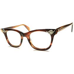 時代背景忠実体現モデル極上DEADSTOCK1950s-60sアメリカンオプティカルARTDECO調AOヒンジウェリントン鼈甲柄眼鏡希少サイズ46/20a5573