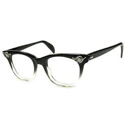 当時世界的アールデコ回帰1950s-60sアメリカンオプティカルARTDECO調AOヒンジウェリントン黒FADE眼鏡レアサイズ優良個体