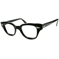 黒好き必見ハイグレードUSBLACKフレーム極上個体1950s-60sB&Lボシュロム肉厚凹凸立体構造ウェリントンsize46/24