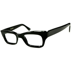歴代最多9枚蝶番ダンディLOOK&世界TOPクオリティ1960s英国製マイケル・ケインSTYLEヒンジレスBLACKウェリントン眼鏡size44/22