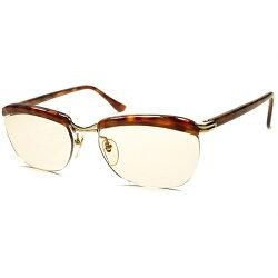 宝飾級MOODx最高精度1950s-60sDEADSTOCKフランス製本家AMORアモールFRAMEFRANCE本金張リムレスブローDEMIxBROWNLENS眼鏡a5662