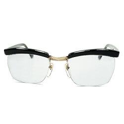 上質高品位アクセント本金張BRIDGE50s-60sDEADSTOCKフランス製本家AMORアモールFRAMEFRANCEリムレスブロー黒xGRAYLENS眼鏡a5664