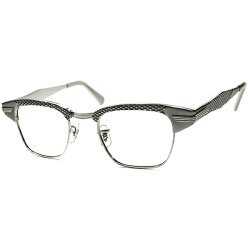 ハイグレードJEWERYテイスト1960sデッドストックUSA製SROパイソンパターンsize46/22ALLSILVERブロー眼鏡1/1012KGF本金張a5699