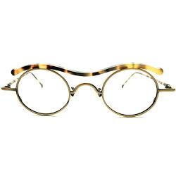 挑戦的ARTPIECE&実用的スペックデッドストック1990sイタリア製MADEINITALYl.a.Eyeworks艶消しゴールド×鼈甲柄W-BRIDGESTYLEOVAL楕円オーバルフレーム実寸42/27ヴィンテージメガネ丸眼鏡A5038