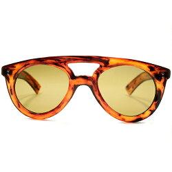 即着用可EARLYAVIATORインスパイアデッドストック1940sフランス製MADEINFRANCE極太芯なしテンプルW-BRIDGE肉厚手塗り風AMBERアビエーターFLATガラスレンズ入サングラスヴィンテージメガネ眼鏡A5186