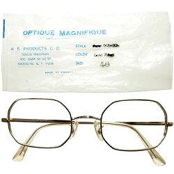繊細優美デッドストック袋付1960sフランス製MADEINFRANCEFRAMEFRANCE丸角オクタゴン本金張ゴールドヴィンテージメガネ眼鏡size48ハイクオリティ&GOODSIZEA5262