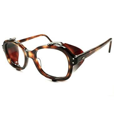 斬新ルックス1950-60sフランス製ALL DEMI AMBER同素材サイドガード付ウェリントン50/22超快適GOOD SIZEビンテージヴィンテージ 眼鏡メガネ A5272 サングラス