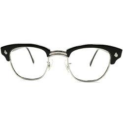 同モデル最高峰ランク個体1950s-1960sアメリカ製MADEINUSAアメリカンオプティカルAMERICANOPTICALAOAOヒンジ極上黒艶BLACKブローフレーム46/22ヴィンテージメガネ眼鏡A5297