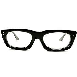 最大厚7mm硬質セル生地採用デッドストック1950s英国製MADEINUKミニマル極艶BLACK黒ウェリントン48/20良好サイズヴィンテージメガネ眼鏡A5324
