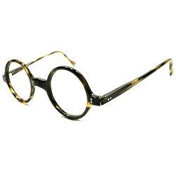 FRENCHCHICデッドストック1940s-1950sフランス製MADEINFRANCE2ドット黒黄系鼈甲柄モダン縦長ラウンドヴィンテージ眼鏡丸メガネA4636