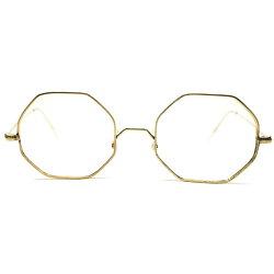 実用的名シェイプ1960sデッドストックフランス製MADEINFRANCEGOLDMETAL八角形OCTAGONオクタゴン型ヴィンテージ眼鏡メガネGOODSIZE実寸48/20A4655