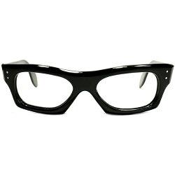 BuddyHolly同型シェイプ&超GOODFITデッドストック1960sフランス製MADEINFRANCE艶黒WIDEフロント×サイド3DOT仕様肉厚FATウェリントンフレームヴィンテージメガネ眼鏡A4745