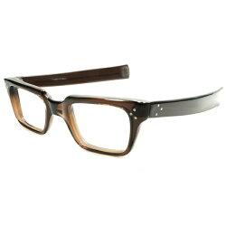 最強DETAIL搭載&超グッドサイズデッドストック1950s-1960sフランス製MADEINFRANCE3DOTヒンジ×ストレートTEMPLE仕様BEERJAR硬質ウェリントンフレーム実寸48/24ヴィンテージメガネ眼鏡A4788