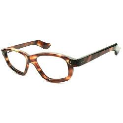 初期ARTPIECE級個体&超GOODSIZEデッドストック1940sフランス製MADEINFRANCE芯なしOLDテンプル×フロント3DOT変形ウェリントンフレーム実寸48/20ヴィンテージメガネ眼鏡A4799