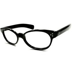 超ハイクオリティ&超絶1点モノオーラ1960sUSA製MADEINUSAトリプルSTARヒンジ×極太テンプル艶黒生地ウェリントンフレーム実寸54/20ヴィンテージメガネ眼鏡A4873