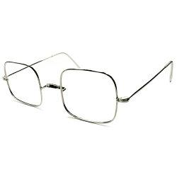 独特無機質フォルム&グッドサイズ1950s-1960sフランス製MADEINFRANCEデッドストックSOLIDシルバーメタルスクエアフレームヴィンテージメガネ眼鏡実寸47/23GOODSIZEA4888