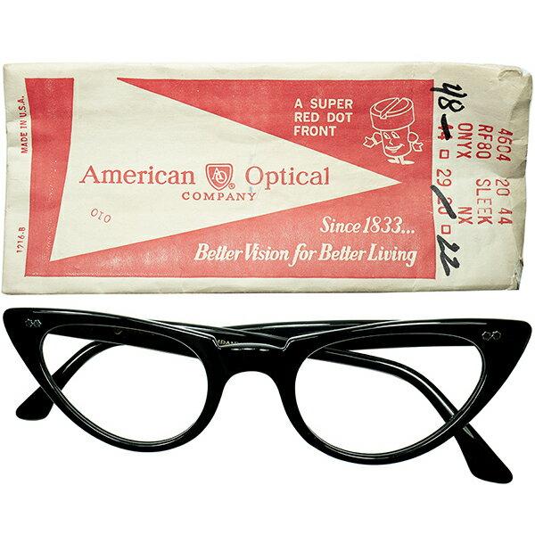 眼鏡・サングラス, 眼鏡  1960s 160; USA AO AMERICAN OPTICAL W CATEYE size4822 160; 160; a6663