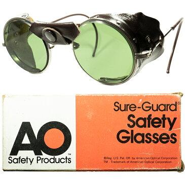 激渋 HEAVY DUTY1960s デッドストック USA製 AO アメリカンオプティカル AMERICAN OPTICAL 後期型 レザー サイドガード INDUSTRIAL ラウンド 丸眼鏡 ビンテージヴィンテージ 眼鏡メガネ a6912