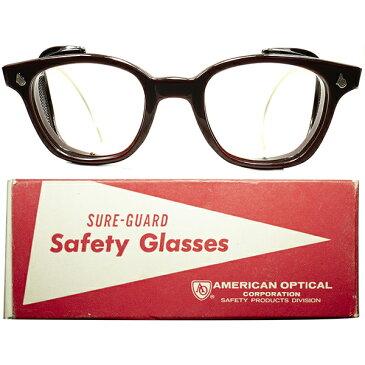 HEAVY DUTY 箱付 デッドストック DEADSTOCK 1950s-60s USA製 アメリカンオプティカル AMERICAN OPTICAL AOヒンジ MESH TYPE サイドガード ウェリントン size48/22 CHOCOLATE ビンテージヴィンテージ 眼鏡メガネ a6446