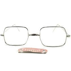 ANTIQUEインスパイアタグ付デッドストック1960sフランス製FRAMEFRANCEシルバーメタル一山式BRIDGE平行四辺形スクエアフレームヴィンテージ眼鏡メガネアンティークA4100