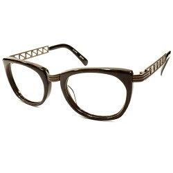 実用的超ハイセンス1990sデッドストック日本製MADEINJAPANJeanPaulGAULTIERジャンポールゴルチエBROWNMARBLE×BRONZEMETAL2ポイントSTYLEウェリントンヴィンテージメガネ眼鏡A4154