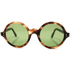 超GOODSIZE待望スペックデッドストック1950s-1960sFRAMEFRANCE正円鼈甲柄ラウンドフレーム#3GREENガラスレンズ入ヴィンテージメガネ丸眼鏡A4231